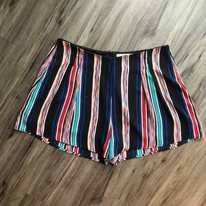 Lush Black & Rainbow High-Waisted Striped Shorts